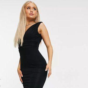 ASOS DESIGN plunge waisted maxi dress in black